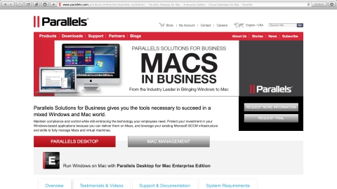Parallels Business Solutions為企業提供一個在Windows、Mac與iPad 混合世界致勝的必要工具